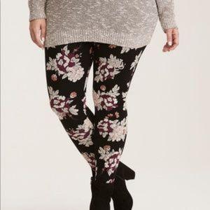 4X Torrid Black & Floral Print Leggings - NWOT